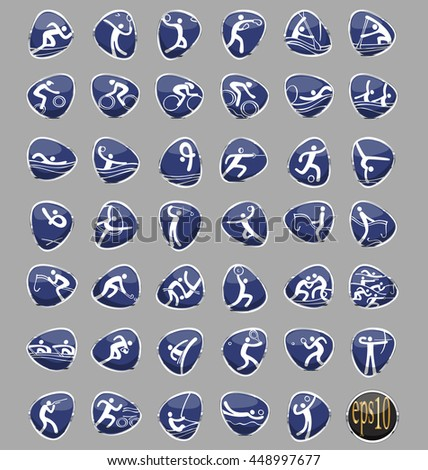 Vector set of sport icons for Brazilian Summer Games 2016 in chrome rings isolated on grey background. event played in Rio de Janeiro, Brazil. Web buttons collection. Graphic elements clip art - stock vector