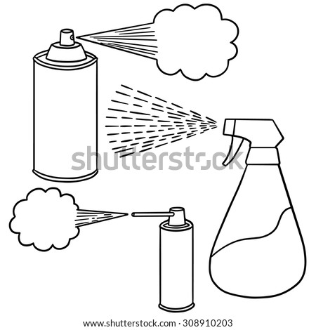 vector set of spray can and bottle - stock vector