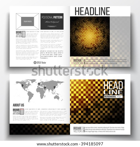Vector set of square design brochure template. Abstract polygonal background, modern stylish sguare design golden vector texture. - stock vector