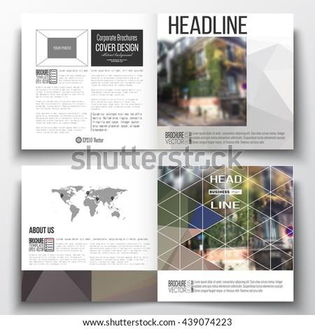 Vector set of square design brochure template Polygonal background, blurred image, urban landscape, street in Montmartre, Paris cityscape, modern triangular vector texture - stock vector