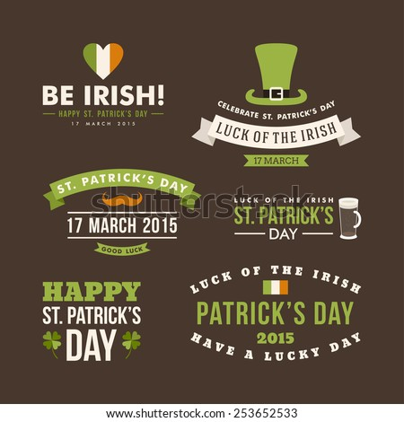 Vector set of St. Patricks Day typographic design elements - stock vector