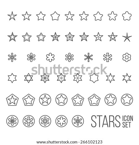 Vector set of star icons and pictograms. Five and six point star collection - stock vector