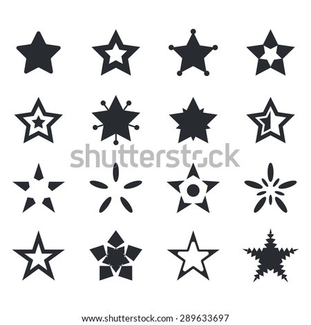 Vector set of star icons. Vector illustration - stock vector