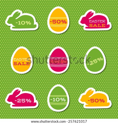Vector set of stickers for easter sale - stock vector
