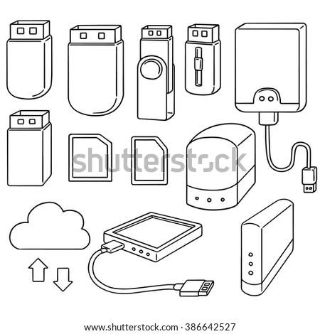 vector set of storage device - stock vector