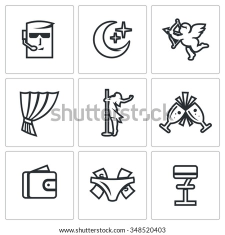 Vector Set of Strip Club Icons. Security, Night, Love, Stage, Striptease, Drink, Money, Gratuity, Bar. Guard, Crescent, Cupid, Curtain, Dance, Wineglass, Wallet, Panties Thong, Chair - stock vector