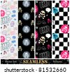 Vector set of stylish emo seamless textures. - stock vector