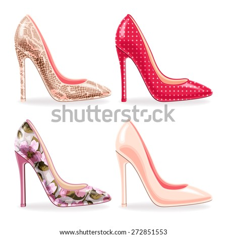 Vector set of stylish female high heeled shoes. Snake skin, floral, polka and nude stiletto - stock vector
