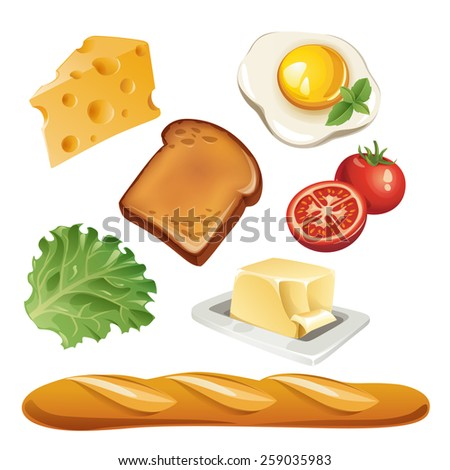 Vector set of stylized food icons. Cheese, egg, toast, tomato, salad leaf butter and baguette are in the set.  - stock vector