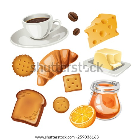 Vector set of stylized food icons. Coffee cup, coffee beans, toast, jam, butter, cakes and  croissant are in the set.  - stock vector