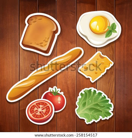 Vector set of stylized food icons on wood background. There are a toast, egg, baguette, cheese tomato and lettuce in the set. - stock vector