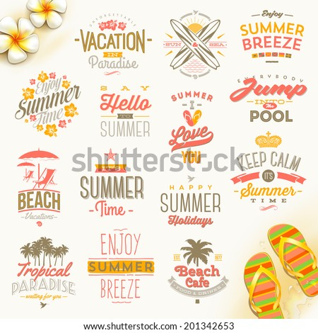 Vector Set Of Summer Holidays Vacation And Travel Type