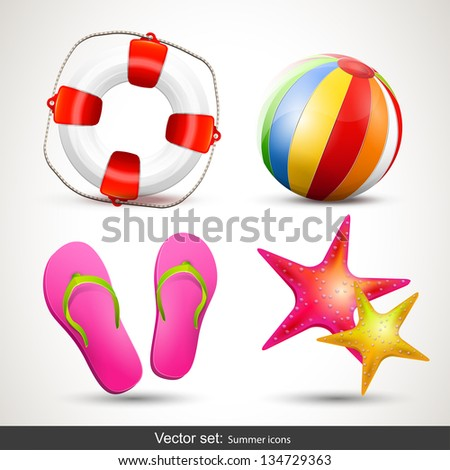 Vector set of summer icons - stock vector
