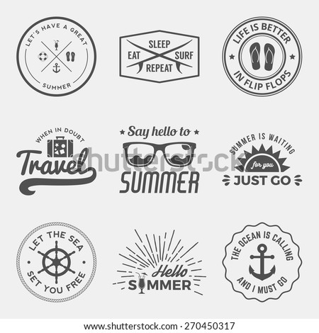 vector set of summer quotes, emblems and design elements - stock vector