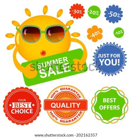 vector set of summer sale labels - stock vector