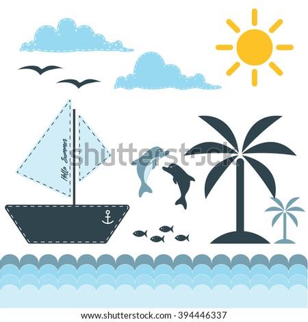 Vector set of summer theme. Sea, sun, beach and palms. Marine ship and dolphins. - stock vector