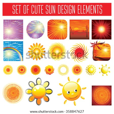 Vector set of sun backgrounds and symbols - stock vector