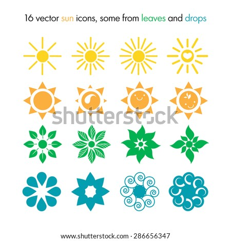 Vector set of 16 sun icons, some from leaves and drops, nature logo, ecology sun icons - stock vector