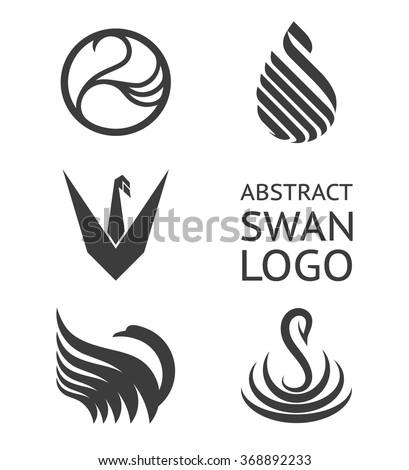 Vector set of swan logo. Logotype for business. - stock vector