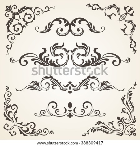 Vector set of Swirl Elements and Corners for design. Vector set of Calligraphic Design Elements for page decoration, Labels, banners, baroque Frames and floral ornaments.  Old paper Decoration - stock vector