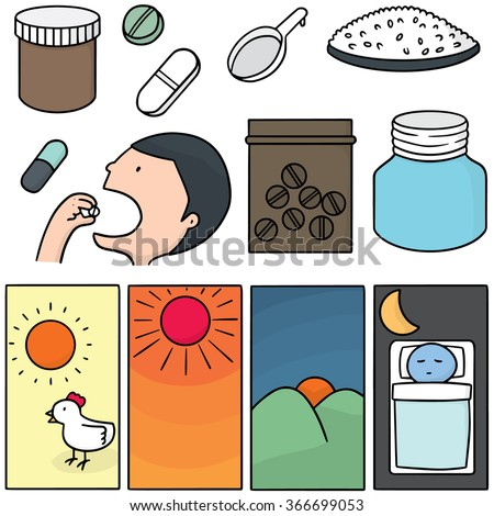 vector set of taking medicine instruction - stock vector