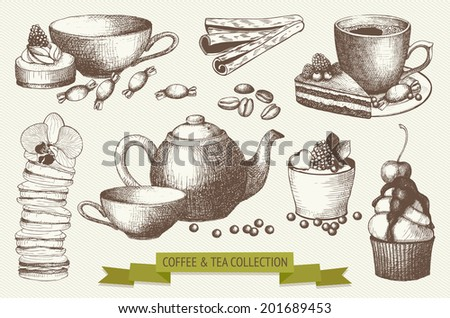 Vector set of tea and coffee illustration. Ink hand drawn dessert and drinks collection - stock vector