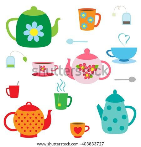 Vector set of tea pots and cups - stock vector