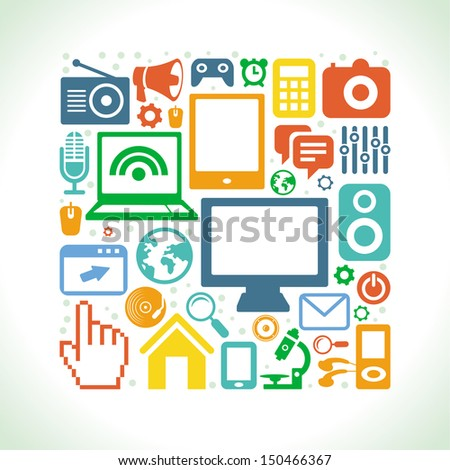 Vector set of technology icons in flat retro style - computers and phones - stock vector