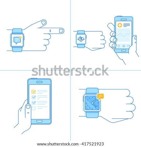 Vector set of technology illustrations and icons in trendy linear style with smart watch concepts - tracking apps on the screen on mobile phone and hand with watch - stock vector
