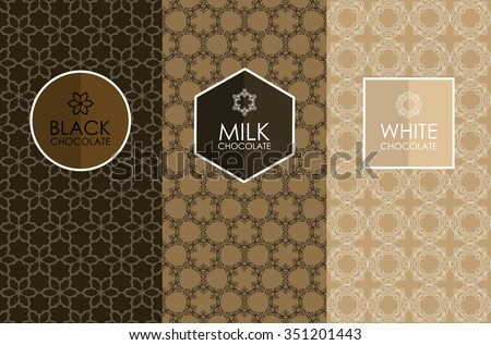 Vector set of templates packaging, label, banner, poster, identity, branding, logo icon, seamless pattern in trendy linear style for chocolate and cocoa package -white, milk and dark chocolate - stock vector