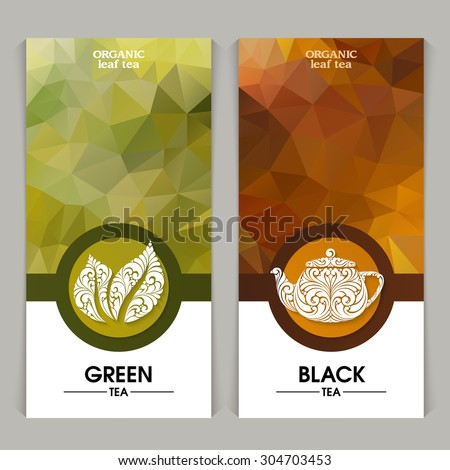 Vector set of templates packaging tea, label, banner, poster, identity, branding. Abstract color background with ornamental design elements - leaf icon, teapot. Stylish design for black and green tea - stock vector