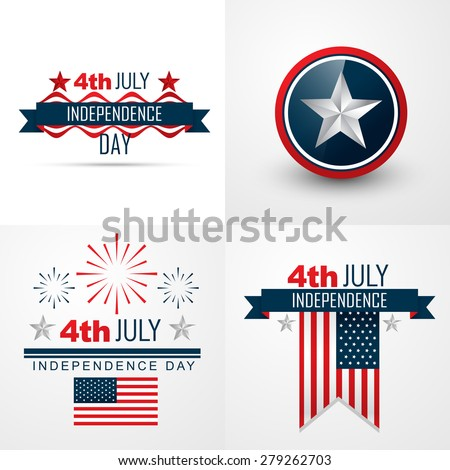 vector set of 4th july american independence day background - stock vector