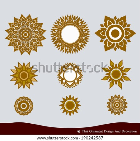 Vector set of Thai ornament design and decoration - stock vector
