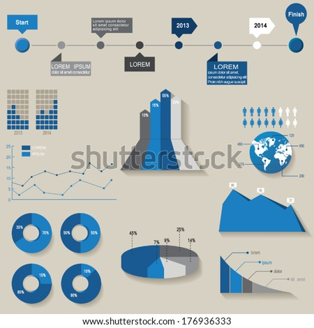 Vector, set of the 3d charts, pie charts and other infographic elements - stock vector