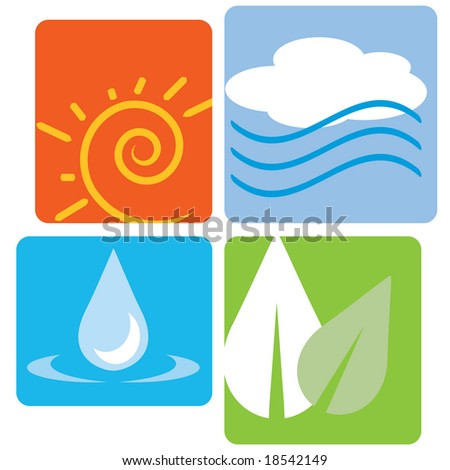 Vector set of the four elements (fire, air, earth, water) - stock vector