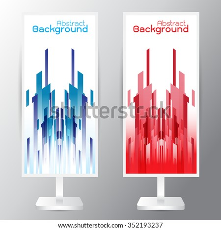 vector set of three banners abstract headers with blue red rectangle - stock vector