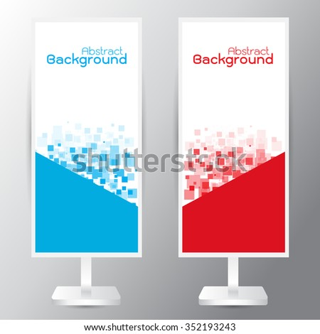vector set of three banners abstract headers with blue red rectangle square - stock vector