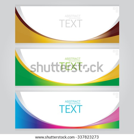 vector set of three banners abstract headers with colorful - stock vector