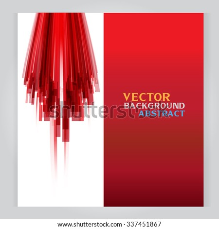 vector set of three banners abstract headers with Red background rectangle - stock vector