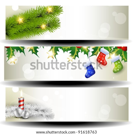 vector set of three christmas headers - stock vector