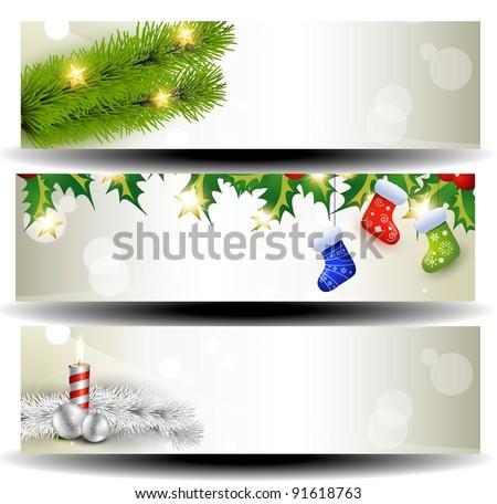 vector set of three christmas headers - stock vector