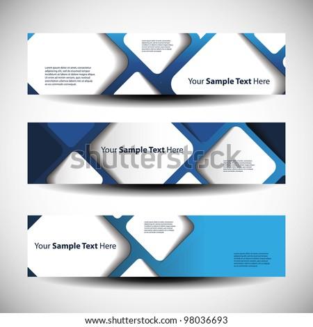 Vector set of three header designs - stock vector