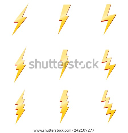 Vector Set of Thunder Lighting Icons - stock vector