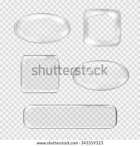 Vector set of transparent glass buttons. White glass sphere, square, rectangle with glares and highlights. Vector illustration contains gradients and effects. Web icons for your design and business. - stock vector
