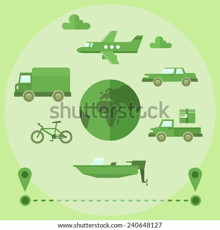 Vector set of transportation icons around the globe infographic in flat minimal style - stock vector