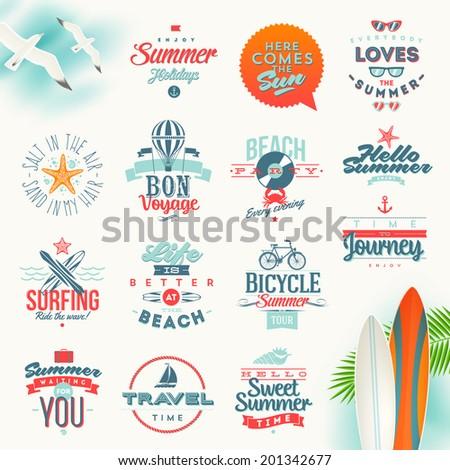 Vector set of travel and summer vacation type design - stock vector
