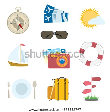 vector set of travel icons on white. flat compass, airplane tickets, sun with cloud, camera, sailing boat - stock vector