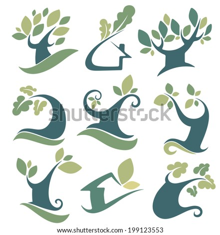 vector set of tree, landscapes, ecology, nature, house and homes signs and icons - stock vector