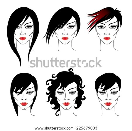 Vector set of trendy hair styling for woman - stock vector
