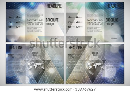 Vector set of tri-fold brochure design template on both sides with world globe element. Abstract multicolored background with bokeh lights and stars. Scientific or digital design, science vector  - stock vector